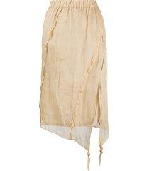 acne studios bias-cut organza skirt - brown