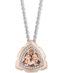 "enchanted disney morganite (1-3/8 ct. t.w.) & diamond (1/10 ct. t.w.) aurora pendant necklace in sterling silver & 14k rose gold, 16"" + 2"" extender"