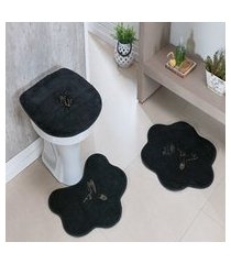 kit tapete banheiro formato 3 peças antiderrapante beija flor preto