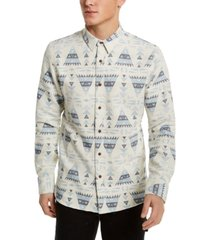 sun + stone men's jacquard geometric shirt, created for macy's
