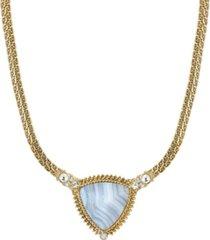 2028 gold-tone semi precious triangle stone necklace