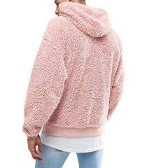 sudaderas con capucha de lana sintética manga larga para hombres-rosa