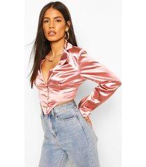 button front plunge blazer top, rose pink