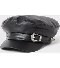 river island womens black faux leather belted baker boy hat