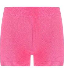 ami amalia ribbed-knit merino wool shorts - pink