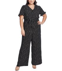 cece plus size printed v-neck jumpsuit