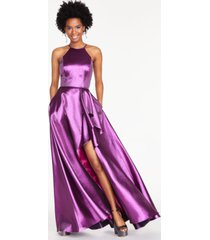 blondie nites juniors' metallic ruffled slit gown