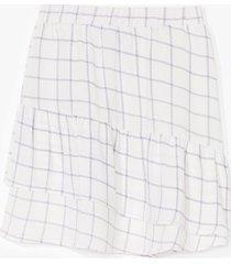 womens check me outside ruffle mini skirt - white