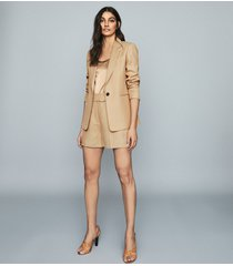 reiss ada - linen blend single breasted blazer in camel, womens, size 14