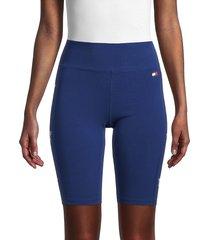 tommy hilfiger sport women's high-waist star-print bike shorts - deep blue - size m