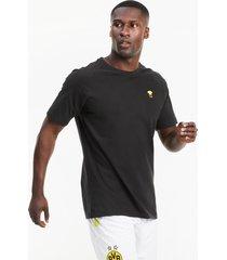bvb ftblfeat voetbal-t-shirt voor heren, zwart, maat l   puma