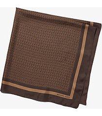 mk foulard in twill di seta con logo stampato - cioccolato (marrone) - michael kors