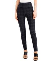 inc international concepts bias plaid ponte-knit leggings, created for macy's