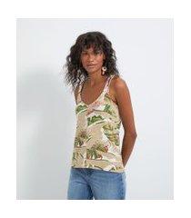 blusa regata com alça larga em viscose com estampa de folhagem | marfinno | bege | g