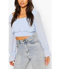 woven square neck shirred top, blue