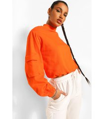 high neck utility pocket detail crop sweatshirt, orange