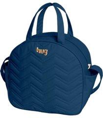 bolsa maternidade hug baby grande linha chevron azul marinho - kanui