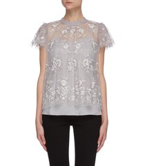 'ashley' floral embroidered round neck tulle top