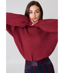 na-kd balloon sleeve knitted sweater - red,purple