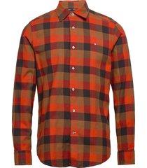 brushed twill check shirt skjorta casual röd calvin klein
