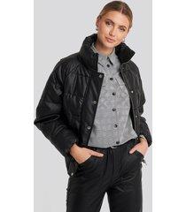 na-kd padded pu leather jacket - black