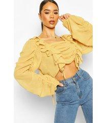 chiffon ruffle and ruched detail blouse, mustard