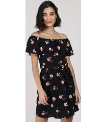vestido feminino curto ombro a ombro estampado floral manga curta preto