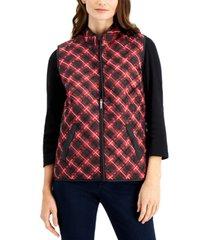 karen scott petite quilted plaid vest, created for macy's