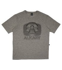 camiseta alkary caveira 3d cinza