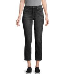 joe's jeans women's mid-rise cropped jeans - black - size 24 (0)
