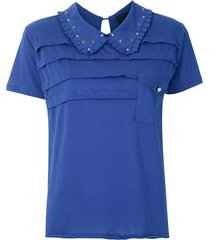 andrea bogosian studded collar fitted t-shirt - blue