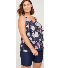 flowering blossom flounce tankini top