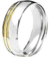 aliança prata mil abaulada de prata c/ filete de ouro prata