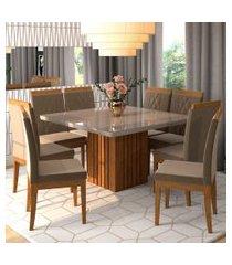 conjunto de mesa de jantar ana com vidro e 8 cadeiras alice suede off white e joli
