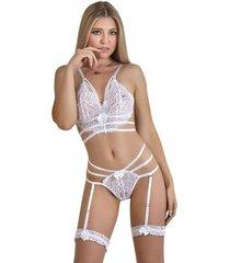 conjunto lencería top, panty en encaje ajustable – bésame-blanco