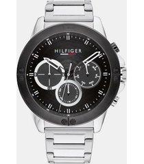 tommy hilfiger men's explorer stainless steel bracelet watch wi sub-dials silver/black -
