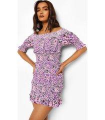 petite bloemenpatroon jurk met ruches en open schouders, purple