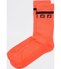 river island mens neon coral ri tube socks