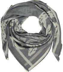 mcm allover logo print wool scarf