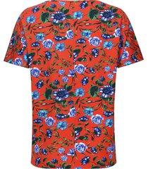 camiseta cuello barco flores color naranja, talla s