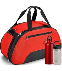 kit bolsa esportiva gym com 3 peças topget vermelho