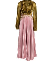 pleated liquid satin gown