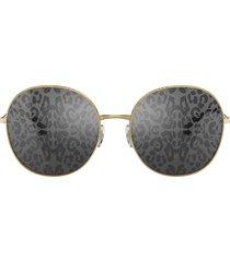 dolce & gabbana eyewear leopard print lens sunglasses - gold