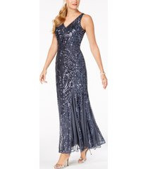 nightway petite size sleeveless sequin gown