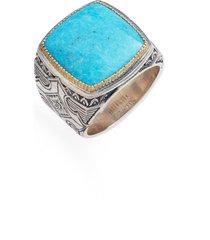 men's konstantino heonos square turquoise ring