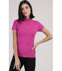 blusa feminina canelada com zíper de argola manga curta gola alta pink