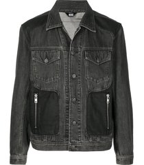 diesel coated panels trucker jacket - black
