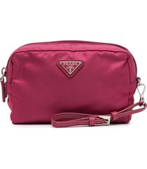 prada pre-owned triangle logo pouch - pink