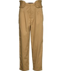 clean twill chino with detachable pleated belt chinos byxor brun scotch & soda