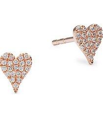 14k rose gold & 0.1 tcw diamond heart stud earrings